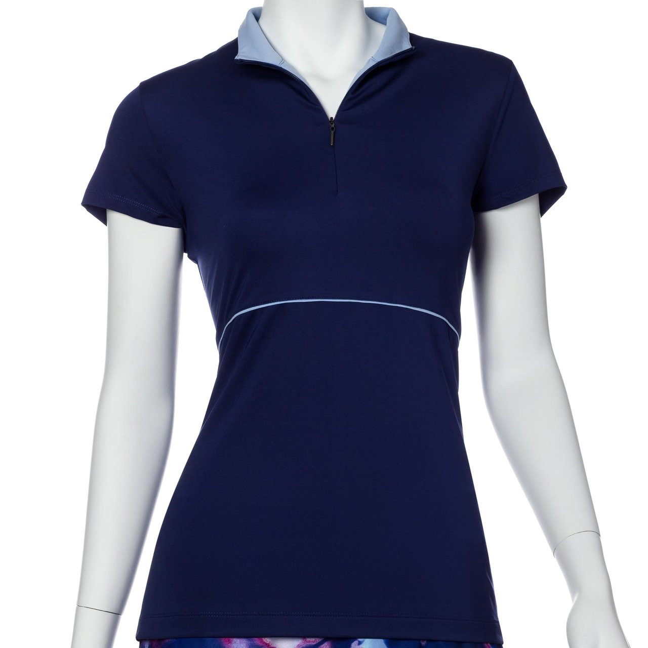 EP Pro NY Cap Sleeve Piping Trim Convertible Zip Collar Women s Golf Shirt 3c2df88161