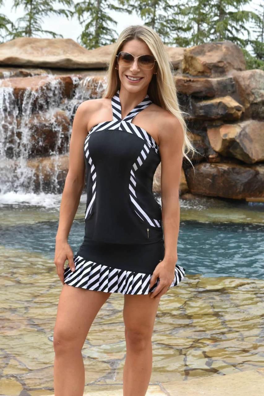 86c1cd011c7 FlirTee Golf Contrast Curves Racerback Women s Golf Shirt - Black with  Striped Trim