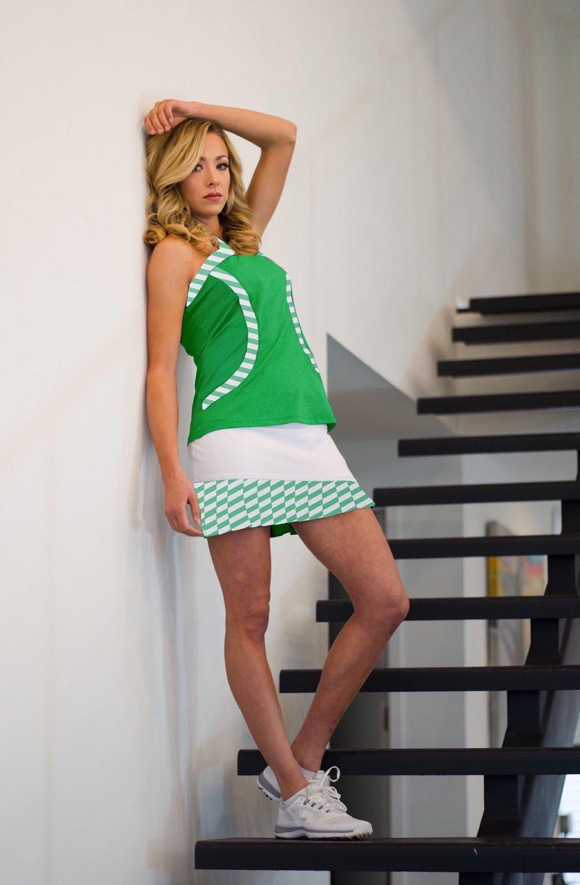 429fb80e8bb FlirTee Golf Contrast Curves Racerback Womens Golf Shirt - Envy Green