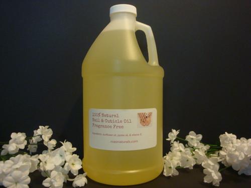 100% Natural Nail & Cuticle Oil 1/2 Gallon/64oz - Fragrance Free
