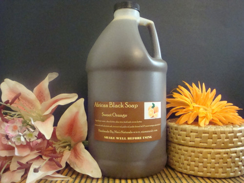 Sweet Orange - RAW LIQUID AFRICAN BLACK SOAP 64 OZ (1/2 GALLON) Free Shipping
