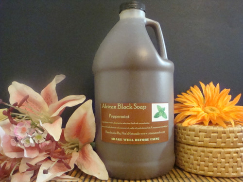 Peppermint - RAW LIQUID AFRICAN BLACK SOAP 64 OZ (1/2 GALLON) Free Shipping!