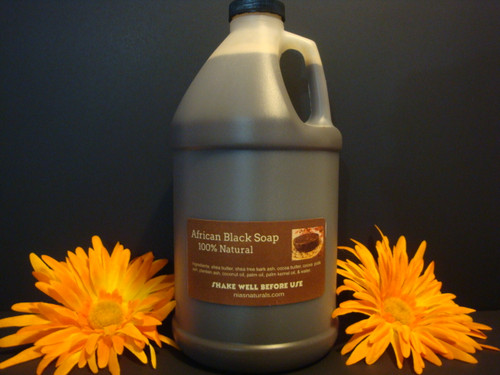 100% NATURAL RAW LIQUID AFRICAN BLACK SOAP 64 OZ (1/2 GALLON) FREE SHIPPING