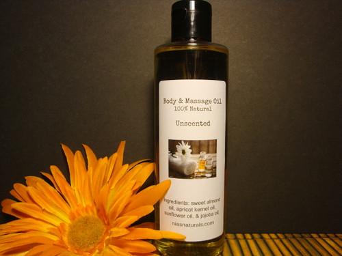 8oz Unscented/Fragrance Free  Body & Massage Oil