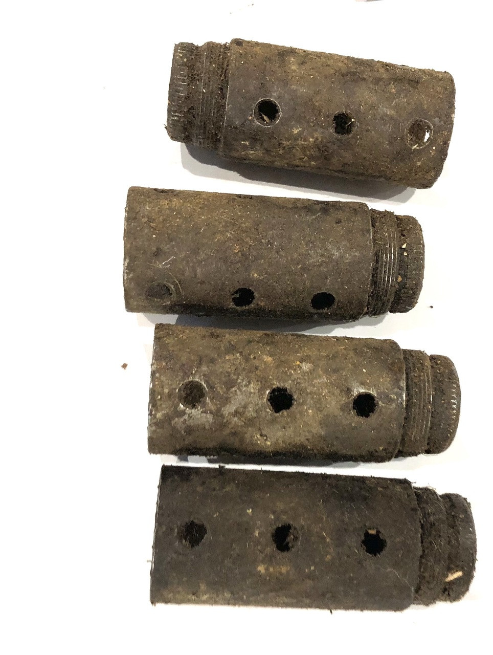STEN Lot: 4 x Barrel Nuts, Stocks, Covers, and Spring Housings (good/fair condition)
