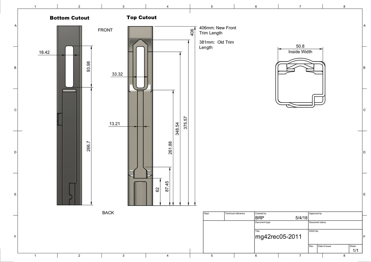 MG42 Rear Sheet Metal Kit - 406 mm Long (WITHOUT RATCHET PLATE)