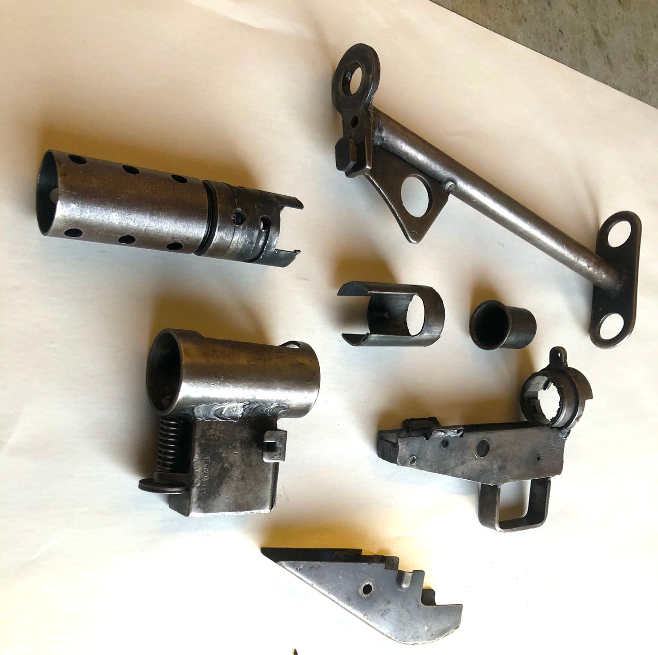 MkII Parts Lot with Cut Receiver: Mag Housing, Barrel Nut, Stock, Fire Control Housing, Ejector, and Barrel Bushing