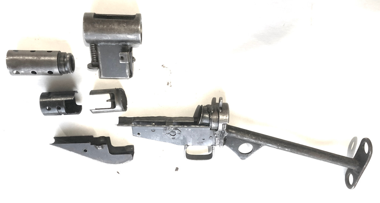 MkII Parts Lot with Cut 'Wrapped' Receiver: Mag Housing, Barrel Nut, Stock, Fire Control Housing, Ejector, and Barrel Bushing