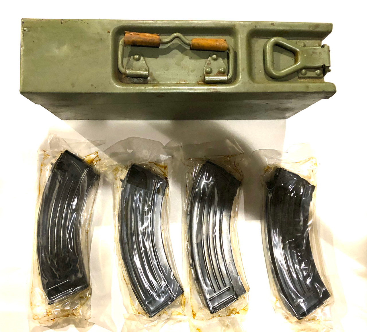 4 x CROATIAN AK-47 7.62x39 Mags with Yugoslav 8mm Ammo Can