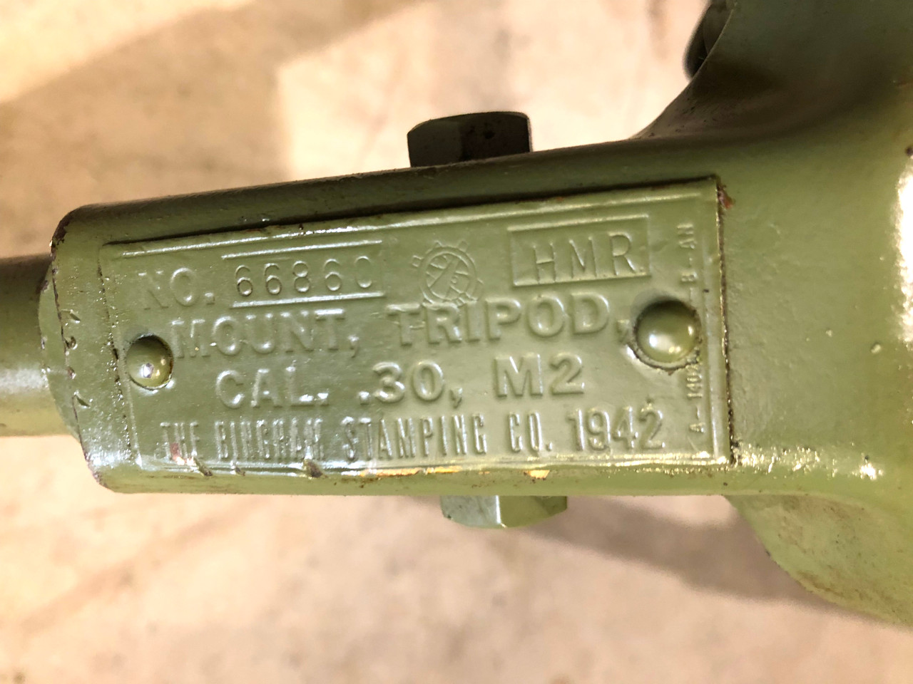 """WW2 dated M2 Tripod  """"THE BINGHAM STAMPING CO 1942"""" SHIPS FREE to lower 48"""