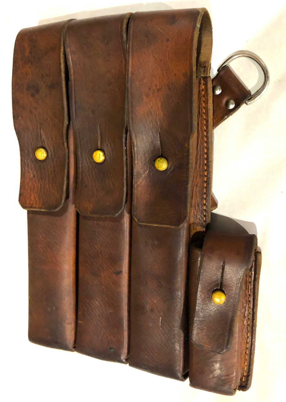 MP40 Magazine Pouch - Original Norwegian Military Brown Leather - Left side