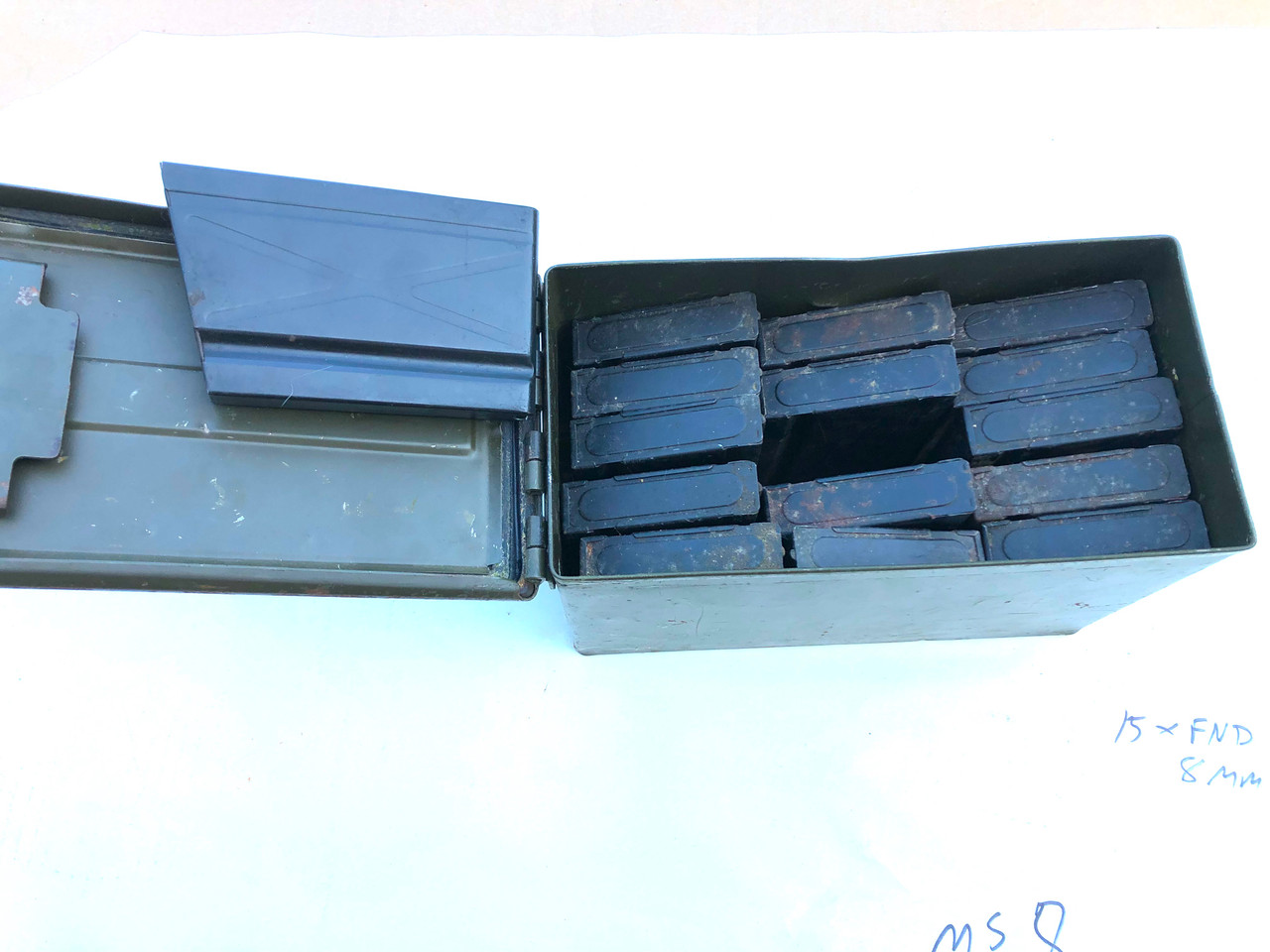 Lot of 15 x FN-D 8mm Magazines with 50 cal Can (Ships Free in Lower 48)