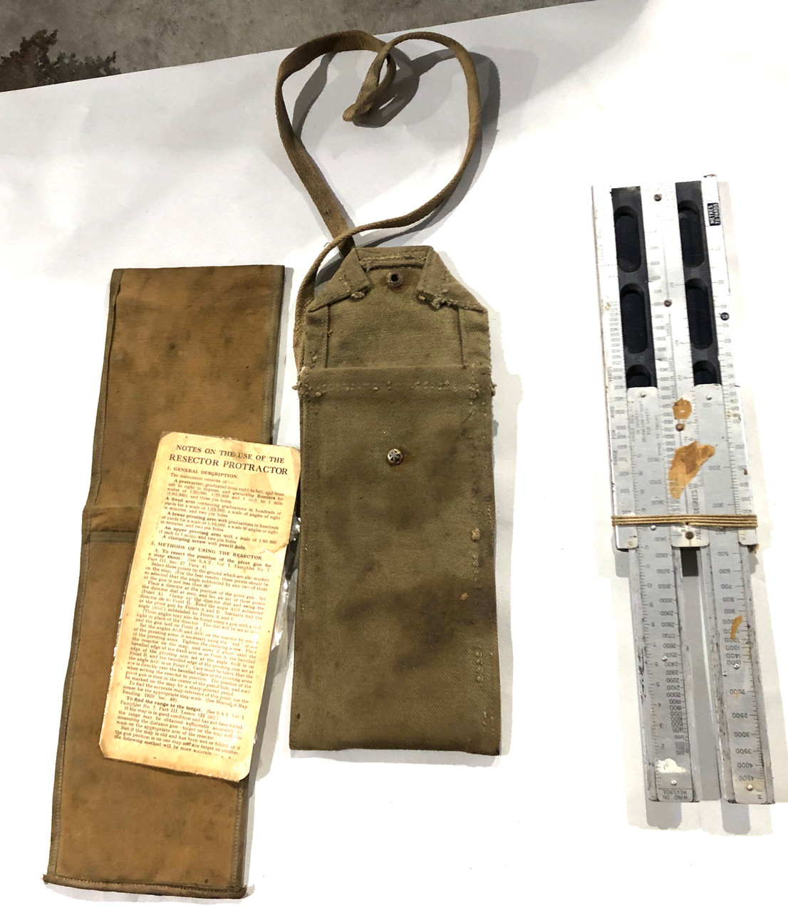 Lot of Vickers Slide Rule Scale with Case and Protractor Case