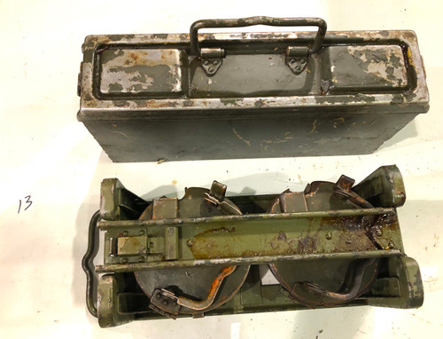 Lot 13: Original WW2 Basket Drums with Carrier and Ammo Can with visible markings