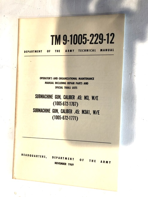 Original 1969 Printing USGI M3 Grease Gun Training Manual
