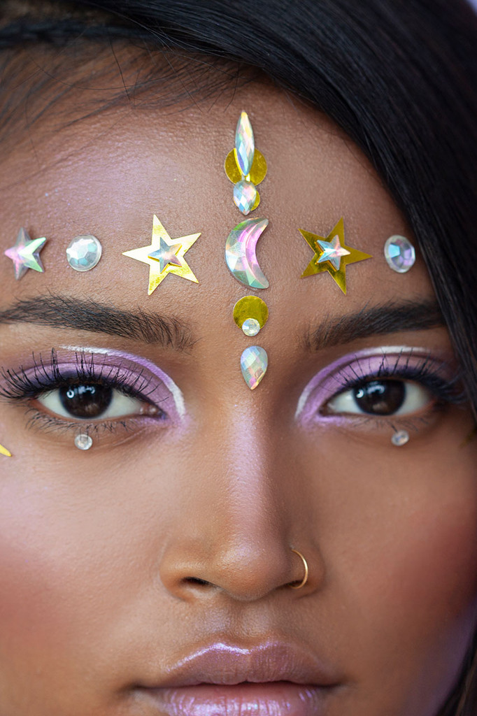 Holographic Galaxy | Mixed Face Gems & Holographic Face Stickers |