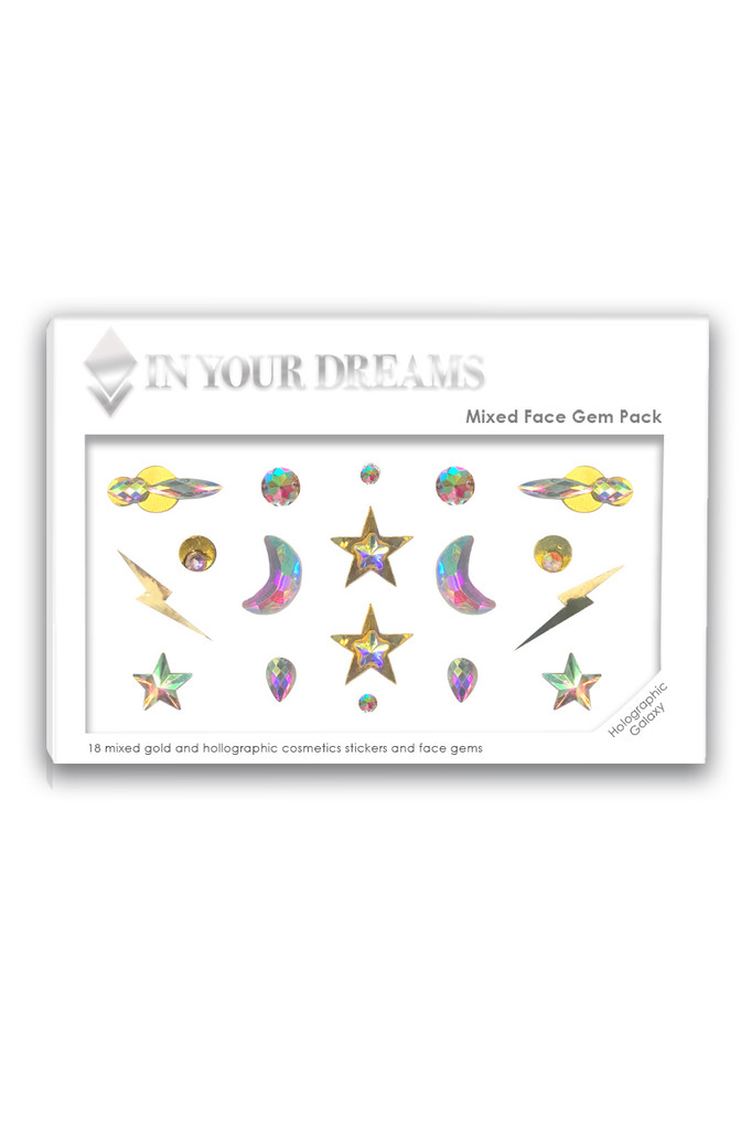 Holographic Galaxy | Mixed Face Gems & Holographic Face Stickers | Packaging