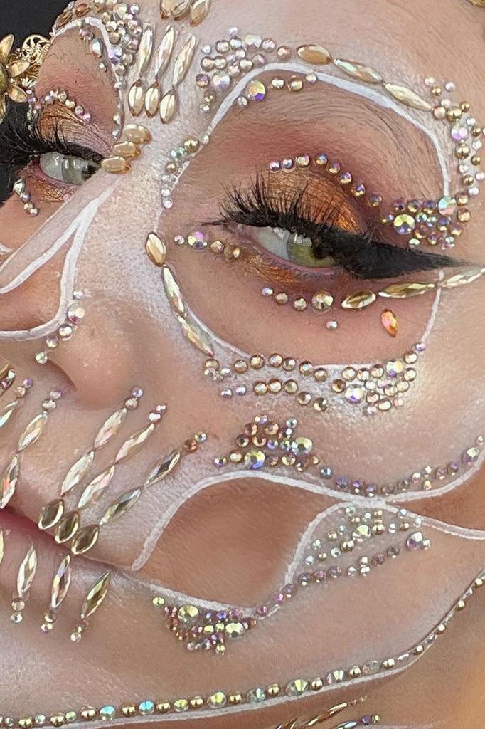Gold Onyx, Gold Iridescent Eye Jewels, Halloween Face Jewels