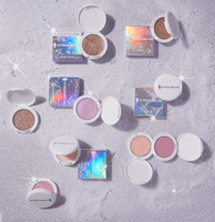 Pressed Glitter Balm and Glitter Highlighter Cream compacts, Glitter Highlighter Makeup