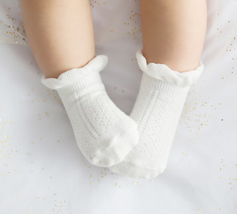 Kids Clara Loren Ruffle Socks Grey, Pink or White