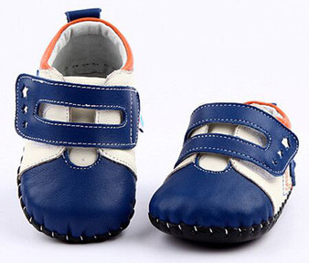 """Freycoo """"Little Star"""" Blue Leather Soft Sole Shoes"""