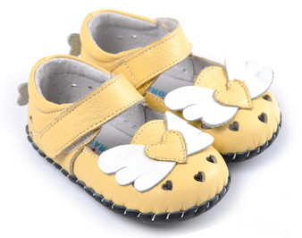 "Caroch ""Angel"" Yellow Leather Soft Sole Shoes"