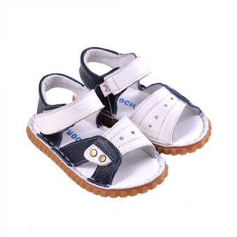 "Caroch ""Kai"" White & Navy Leather Sandals"
