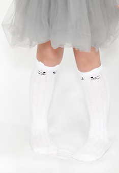 Ma Mer Girls Cat Knee High Socks Pink, White or Navy