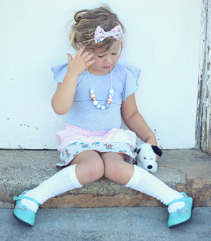 Ma Mer Girls Pretty Frill White Knee High Socks