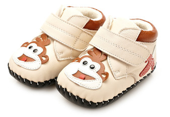 "YXY ""Lil Monkey"" Cream Soft Sole Leather Boots"