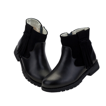 """TS """"Winona"""" Black Leather Ankle Boots"""