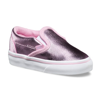 Vans Girls Classic Metallic Pink Slip On Toddler Shoes