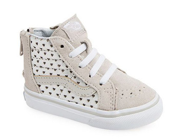 Vans Girls SK-8 Metallic Heart Silver Toddler High Tops Aus 3 only