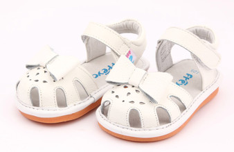 """Freycoo """"Sally"""" White Leather Sandals"""