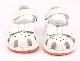 "Freycoo ""Sally"" White Leather Sandals"