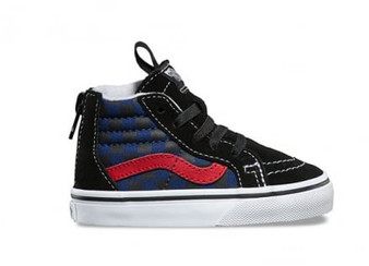 Vans SK8-Hi Zip Checkerboard Black/Blue Toddler Shoes US4 & US5
