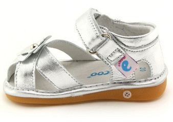 "Freycoo ""River"" Girls Silver Leather Sandals"