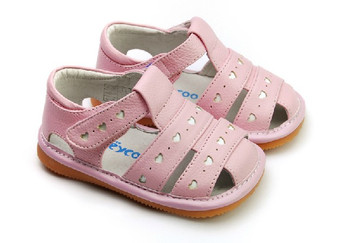 "Freycoo ""Lucy"" Girls Pink Leather Sandals"