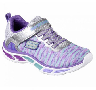 Skechers Litebeams Sivler Light Up Girls Sneakers Aus 3 only