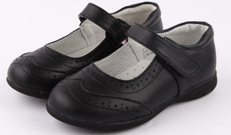 "Freycoo ""Jayme"" Black leather girls Mary Jane School Shoes"