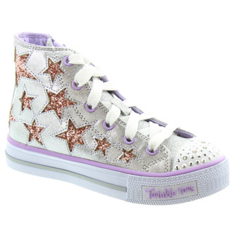 Skechers Twinkle Toes Rockin Stars silver girls Light Ups