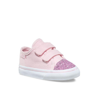 Vans Style 23 V Pink Glitter Toe  Toddler Girls  Shoes