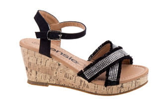 Kesie Girls Black Wedge Girls Sandal
