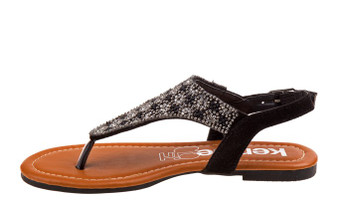 Kensie Girl Black Speckle Studded Girls Sandal