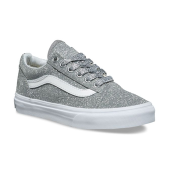 Vans Old Skool Lurex Glitter Silver Girls Shoes
