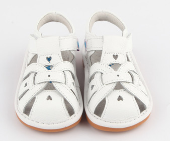 "Freycoo ""Louise"" Girls White Leather Sandals"