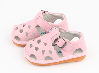"Freycoo ""Cass"" Girls Pink Leather Sandals"