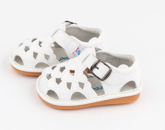 "Freycoo ""Cass"" Girls White Leather Sandals"
