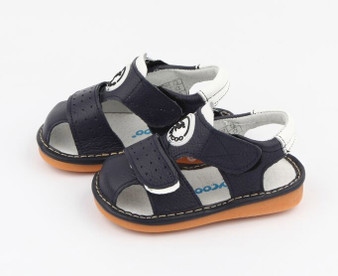 "Freycoo ""Kennie"" Navy Leather Sandals"