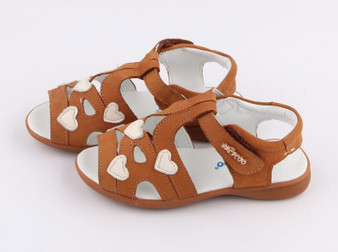 "Freycoo ""Leesa"" tan leather girls sandals"
